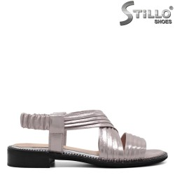 Дамски сребърни сандали на ленти - 33075