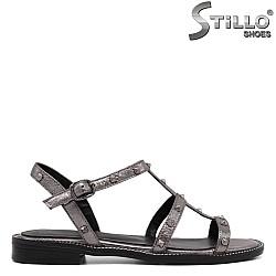Римски сандали в бронзово с рапиди - 33086