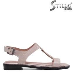 Перлено розови сандали в кожа - 33093