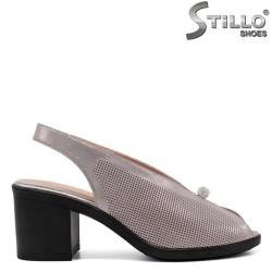 Дамски сандали в перлено розово на платформа с ток - 33104
