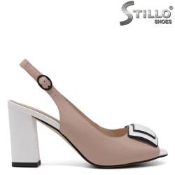Розови дамски сандали на висок ток - 33115