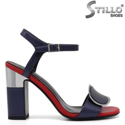 Синьо-червени дамски сандали на висок ток - 33117