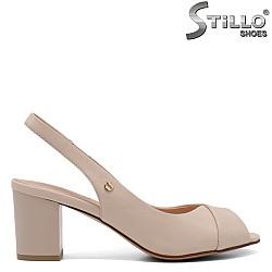 Бежови дамски сандали на ток - 33126