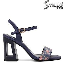 Сини сандали на цветя с висок ток - 33162
