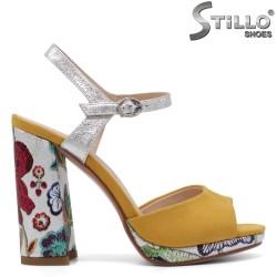 Дамски жълти сандали с флорални мотиви на висок ток - 33177