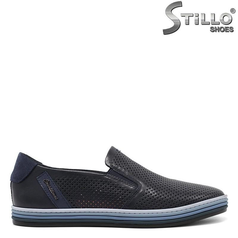 Мъжки спортно-елегантни обувки в тъмносин цвят - 33180