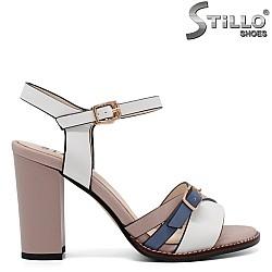 Стилни дамски сандали в розово, бяло и синьо - 33184