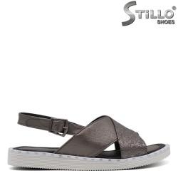 Сребърни ежедневни сандали с капси - 33234