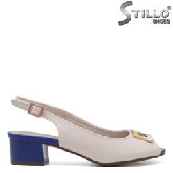 Дамски сандали в бежово и турско синьо - 33248
