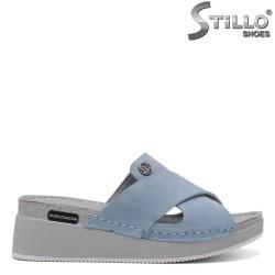 Дамски сини чехли от естествен велур - 33261