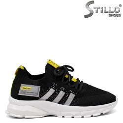Дамски маратонки в черно и жълто - 33286