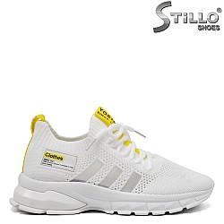 Бели маратонки с жълт акцент - 33287