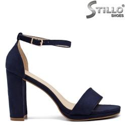 Сини велурени сандали на платформа - 33294