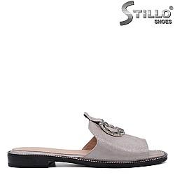 Дамски чехли на нисък ток естествена кожа - 33346