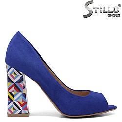 Турскосини велурени обувки на ток - 33354