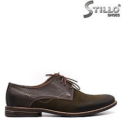 Мъжки обувки с връзки от набук - 33397