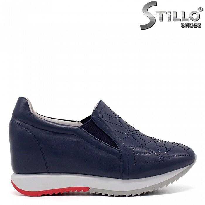 Модни сини обувки на платформа - 33449