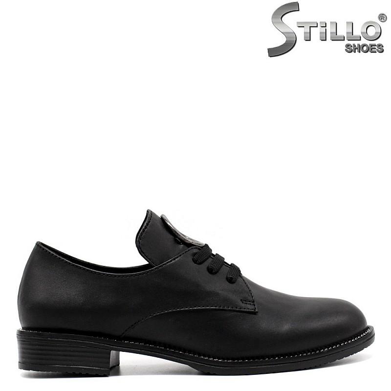 Дамски обувки естествена кожа с връзки - 33460