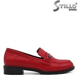 Червени дамски мокасини естествена кожа - 33464