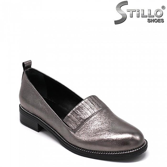 Ежедневни сребристи обувки на нисък ток - 33468