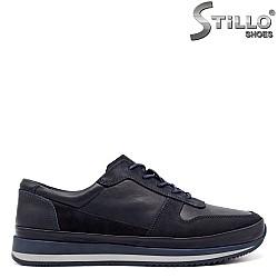 Тъмносини спортни обувки с връзки - 33469