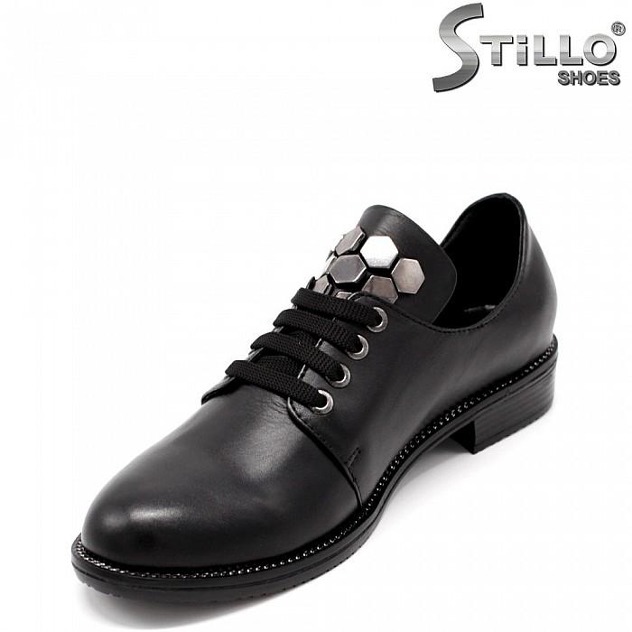 Ежедневни дамски обувки естествена кожа с връзки - 33473
