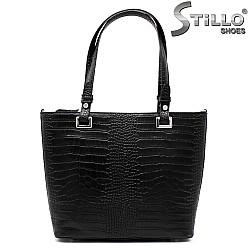 Дамска кожена чанта с кроко щампа - 33558