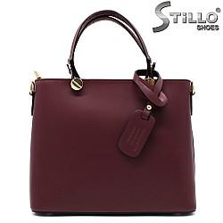 Дамска чанта естествена кожа в бордо - 33561