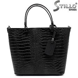 Дамска чанта от естествена кроко кожа - 33563