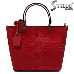 Червена чанта от натурална кроко кожа - 33570