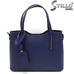Синя дамска чанта от естествена кожа - 33575