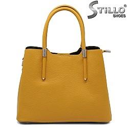 Жълта чанта от натурална шагренова кожа - 33577