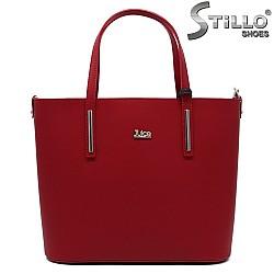 Червена дамска чанта от естествена кожа - 33581