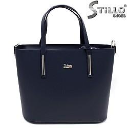 Дамска чанта от тъмносиня кожа - 33582