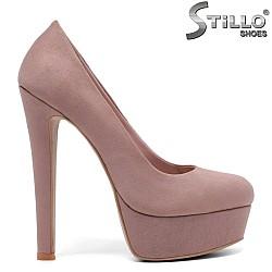 Обувки на платформа с ток, цвят пепел от рози - 33595