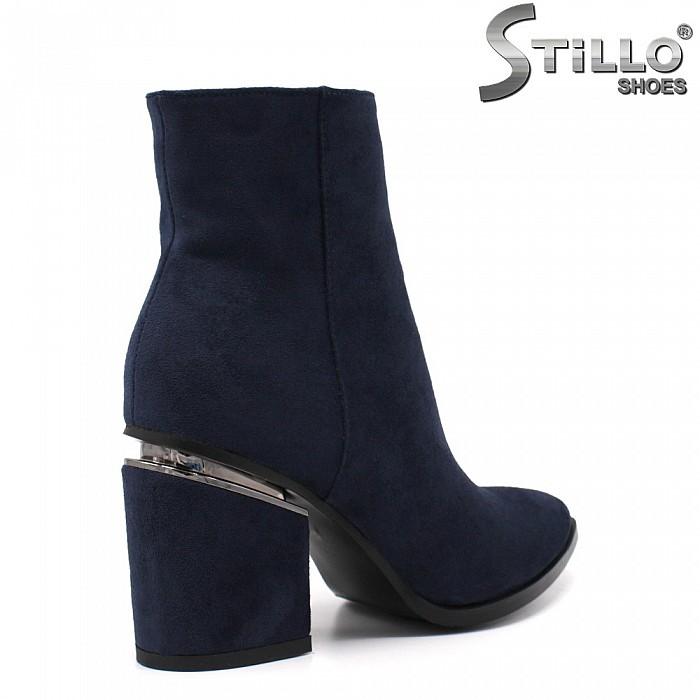 Сини дамски боти от еко велур - от №33 - 33651
