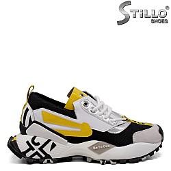Дамски сникърси в бяло, черно и жълто - 33662