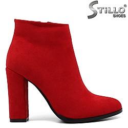 Червени дамски боти на висок ток - 33695