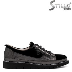 Спортни обувки от черен велур и бронзова кожа - 33699