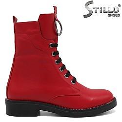 Червени дамски кубинки от естествена кожа - 33704