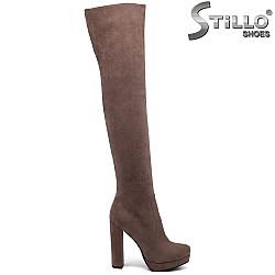 Дамски чизми от еко велур цвят капучино - 33797