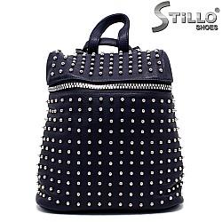Тъмносиня чанта - раница с метални капси - 33821