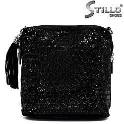 Стилна дамска чанта с камъчета - 33829