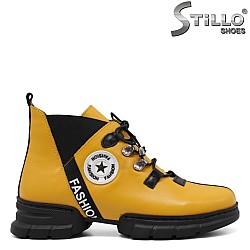 Спортни полуботи в жълто и черно - 33963