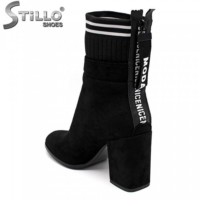 Високи боти от еко велур с текстилен чорап - 33991