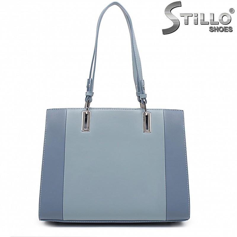 Синя дамска чанта с две дръжки-35933