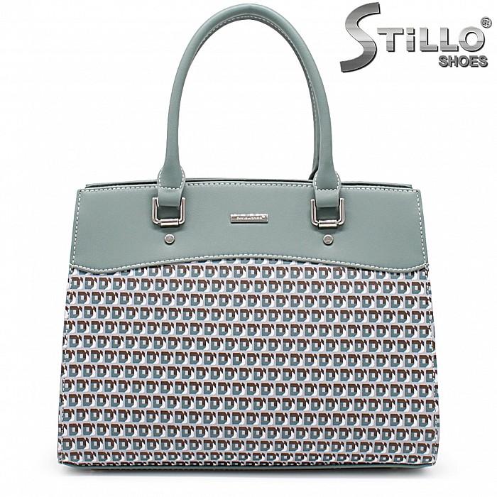 Дамска чанта в зелено с пепит - 35939