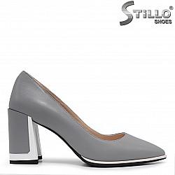 Сиви дамски обувки на висок ток - 36197