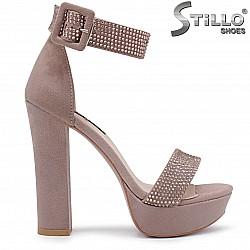 Абитуриентски сандали в цвят пепел рози- 36286
