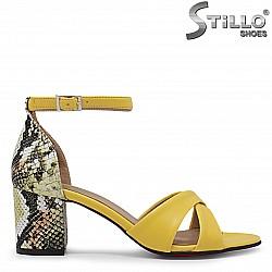 Жълти дамски сандали със змийски ток – 35378